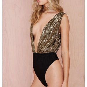 Nasty Gal Other - Nasty Gal Gold Metallic Deep V Body Suit Size S